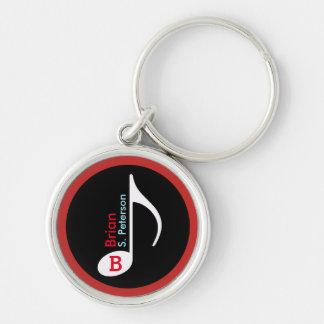 kundengebundenes Rot der musikalischen Anmerkung Silberfarbener Runder Schlüsselanhänger
