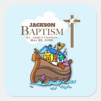 Kundengerecht, Baby-Taufe-Noahs Arche Quadratischer Aufkleber