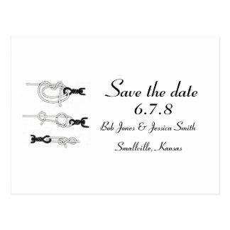 Kundengerecht: Bindung den Knoten - Save the Date Postkarte