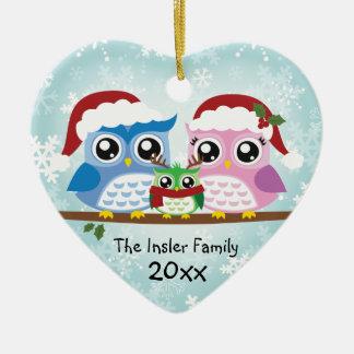 Kundengerechte Eulen-Familien-Herz-Verzierung Keramik Herz-Ornament