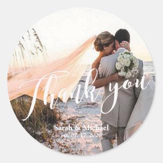 Kundengerechte Foto-Hochzeit danken Ihnen Runder Aufkleber