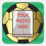 Kundengerechte Fotogoldfußbalballaufkleber Quadrataufkleber