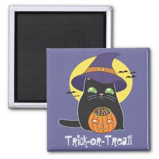 Kundengerechte Halloween-Hexe-Miezekatze Quadratischer Magnet