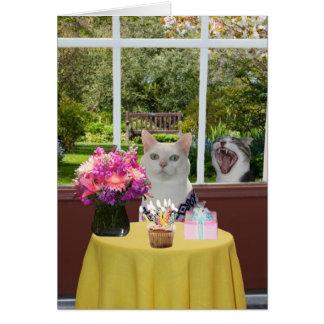 Kundengerechte hübsche Katze weiblicher Photobomb Karte