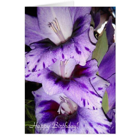 Kundengerechte lila Gladiolus-alles- Gute zum Grußkarte