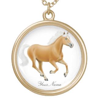 Kundengerechte Palomino Haflinger Pferdehalskette Vergoldete Kette