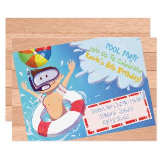 Kundengerechte Pool-Party-Geburtstags-Einladung Karte