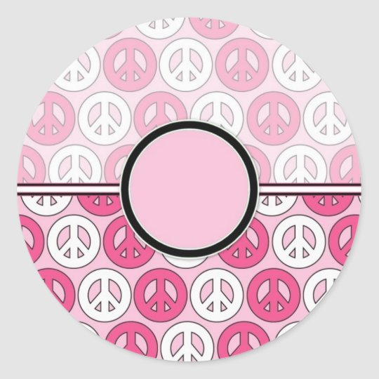 Kundengerechte rosa Friedenssymbol-Karte (2) Runder Aufkleber