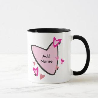Kundengerechte rosa Herz-Bevorzugungen Tasse