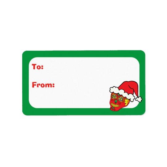 Kundengerechte Zuckerschädel Weihnachten Sankt Adressaufkleber