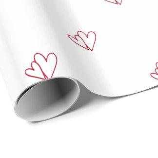 Kundengerechte zwei offene rote Herzen auf Weiß Geschenkpapier