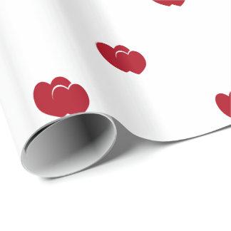 Kundengerechte zwei rote Herzen auf Weiß Geschenkpapier