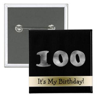 Kundengerechter 100. Geburtstags-silberne Zahl 100 Quadratischer Button 5,1 Cm