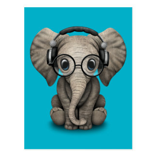 Kundengerechter Baby-Elefant DJ mit Kopfhörern Postkarte