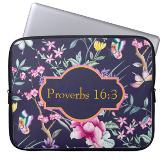 Kundengerechter Bibel-Vers-Blumenneopren-Kasten Laptopschutzhülle