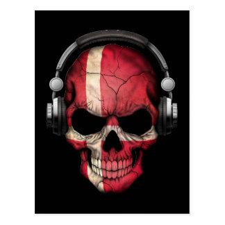 Kundengerechter Dänische-DJ-Schädel mit Kopfhörern Postkarte