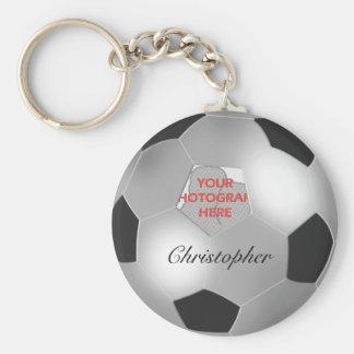 Kundengerechter Fotorahmen des silbernen Fußballs Schlüsselanhänger