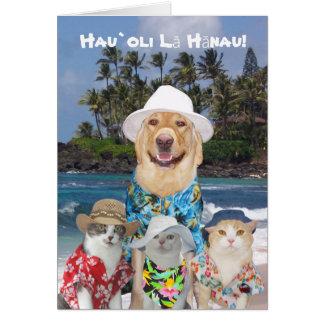 Kundengerechter hawaiischer gelber Labrador u. Grußkarte