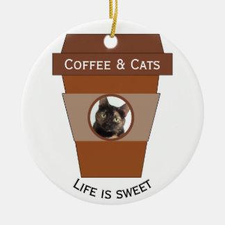 Kundengerechter Kaffee u. Katzen - das Leben ist Keramik Ornament