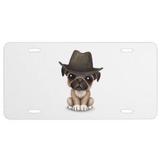Kundengerechter niedlicher Mops-Welpen-Cowboy US Nummernschild