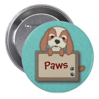 Kundengerechter niedlicher Welpen-Hund mit Schild Runder Button 7,6 Cm