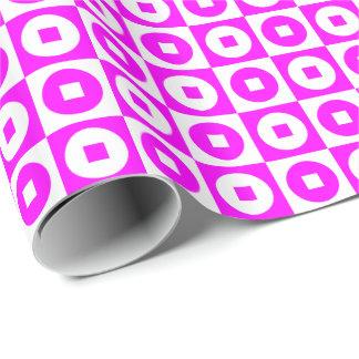 Kundengerechter rosa/weißer Quadrat-Kreis Geschenkpapier