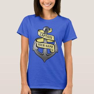 Kundengerechter Schiffs-Kapitän Ihr Namensanker T-Shirt