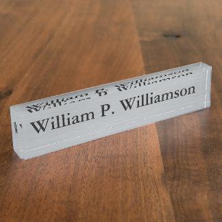 Kundengerechter silberner Hintergrund Schreibtischplakette