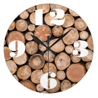 Kundengerechter Stapel Holz Große Wanduhr