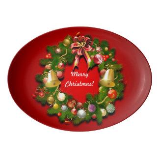 Kundengerechter WeihnachtsKranz Porzellan Servierplatte