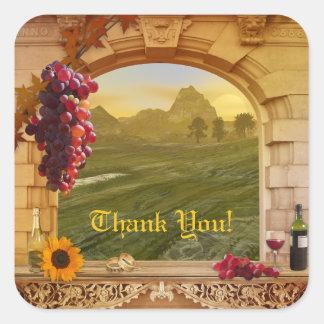 Kundengerechter Weinberg (Hochzeit) danken Ihnen Quadratsticker