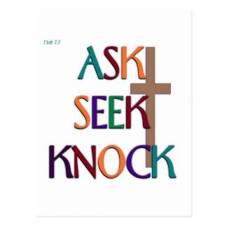 Kundengerechtes christliches Geschenk Matt-7:7 Postkarten