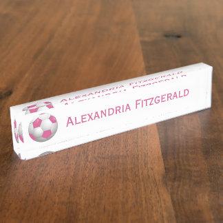 Kundengerechtes Fußball-Fußball-Rosa und Weiß Schreibtischplakette