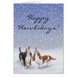 Kundengerechtes glückliches Howlidays Basset Hound Grußkarte