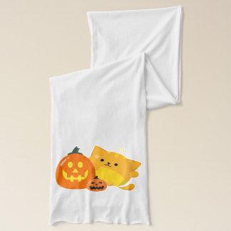 Kundengerechtes Halloween - Kürbis-Katze Schal