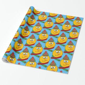 Kundengerechtes lächelndes Schneemann Emoji Geschenkpapier