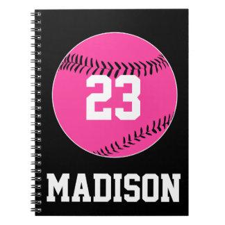 Kundengerechtes rosa Softball-Notizbuch Notizblock
