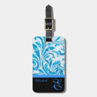 Kundengerechtes schwarzes u. blaues Blumenmuster Kofferanhänger