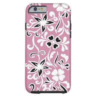 Kundengerechtes schwarzes u. weißes Blumenmuster Tough iPhone 6 Hülle