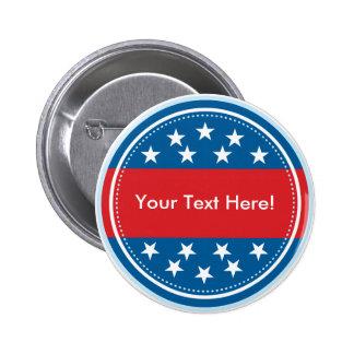 Kundengerechtes USA-Flaggen-Siegel - Blau Runder Button 5,7 Cm