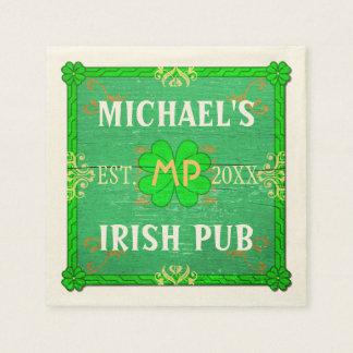 Kundengerechtes Zuhause-Bar: Grüne irische Kneipe Papierserviette