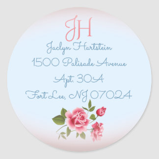 Kundenspezifische Adressen-Vintager Rosen-Umschlag Runder Aufkleber