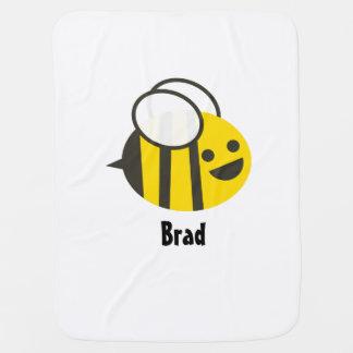 Kundenspezifische Baby-Bienen-Decke mit dem Namen Babydecke