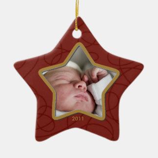 Kundenspezifische Babys erste Keramik Stern-Ornament