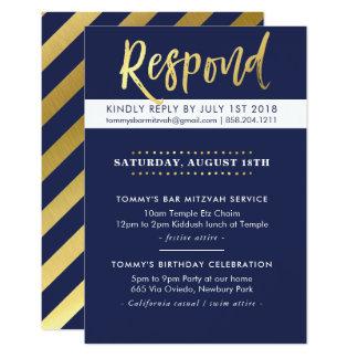 KUNDENSPEZIFISCHE Bar Mitzvah Party Tommy-Marine + Karte