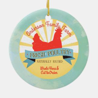 Kundenspezifische Bauernhofnamengeflügel Keramik Ornament