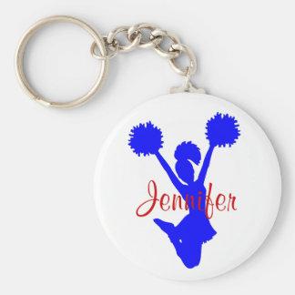 Kundenspezifische blaue Cheerleader-Schlüsselkette Standard Runder Schlüsselanhänger