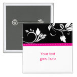 Kundenspezifische Brosche/Button des rosa Blumen-t