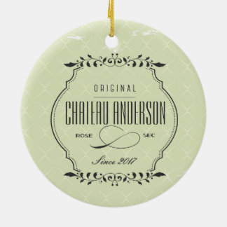 Kundenspezifische Chateau Rosen-sekwein Rundes Keramik Ornament