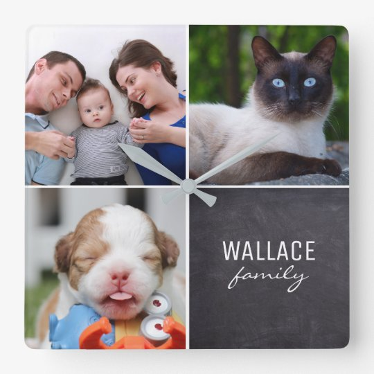Kundenspezifische Collage 4 Fotos, personalisiert, Quadratische Wanduhr
